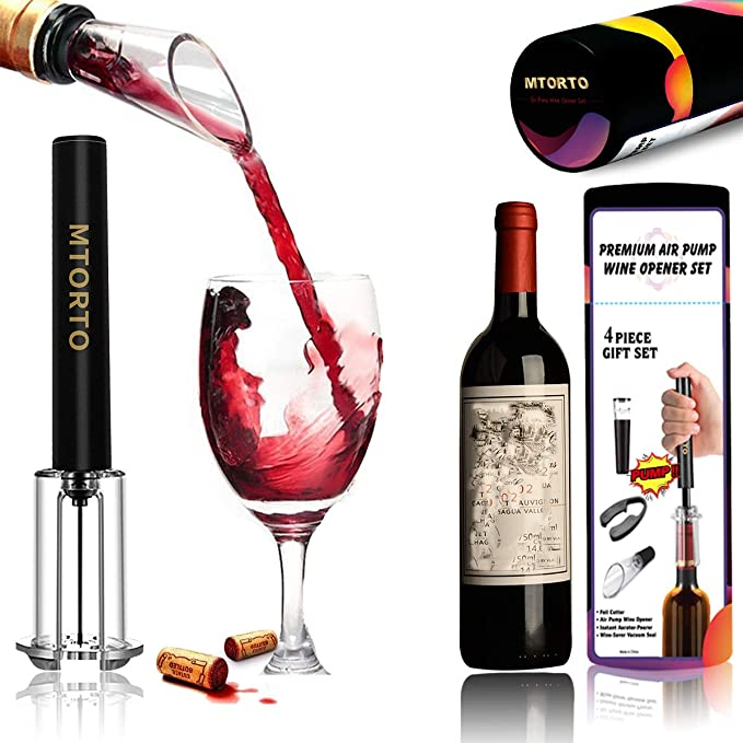 Cork Remover Air Pressure Pump Wine Opener Set Screw Out Tool with Foil Cutter Needle Wine Bottle Cork Remover Wine Accessories EZBASICS Pump Bottle Opener Corkscrew Great for Wine Lovers