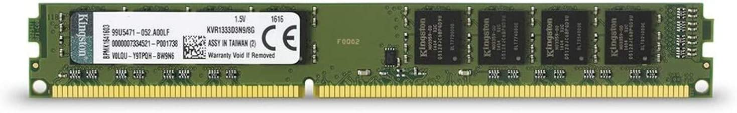 Comprar Kingston KVR1333D3N9/8G - Memoria RAM de 8 GB (1333 MHz DDR3 Non-ECC CL9 DIMM, 240-pin, 1.5 V) Negro y Verde