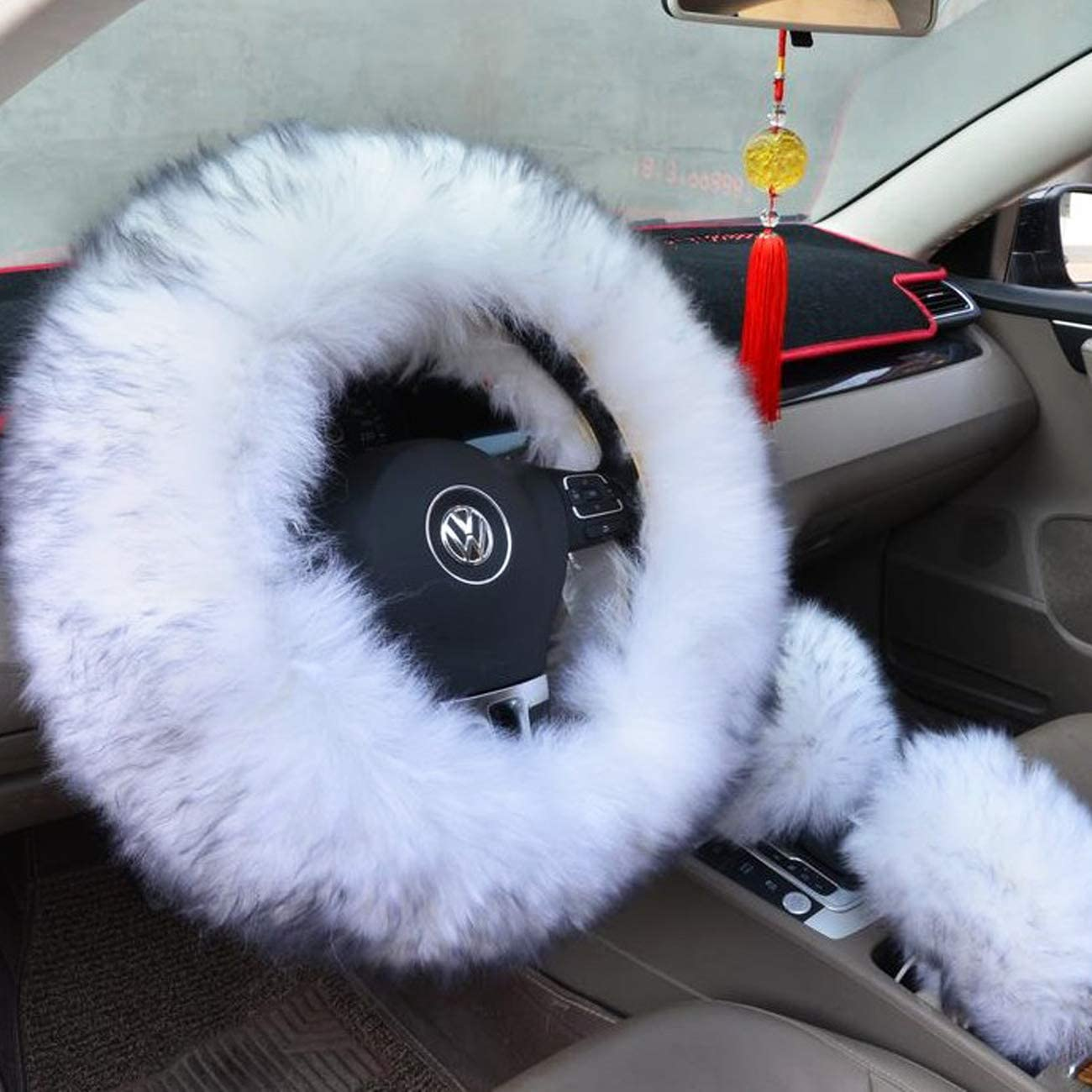 Grey-Blue Ogrmar Winter Warm Faux Wool Steering Wheel Cover with Handbrake Cover /& Gear Shift Cover for 14.96 X 14.96 Steeling Wheel in Diameter 1 Set 3 Pcs