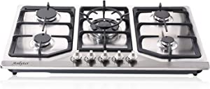 Anlyter 34 Inch Gas Cooktop, 5 Burners Built-in Gas Stovetop (Thermocouple Protection), Stainless Steel LPG/NG Gas Stove Dual Fuel Sealed Gas Cooker with Wok Stand and Pressure Regulator
