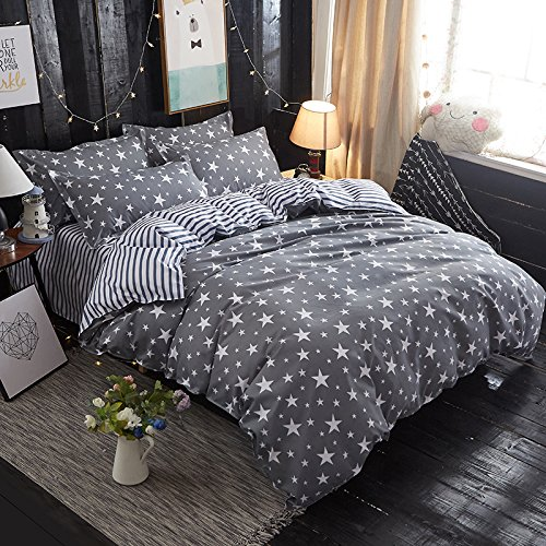 Bedding Duvet Cover Set 3-pieces Twin Size Microfiber, White And Grey Stars Stripes Prints Floral Patterns Design,Without Comforter (Twin, (1Duvet Cover+2Pillowcases)#05) (Star Twin Set)