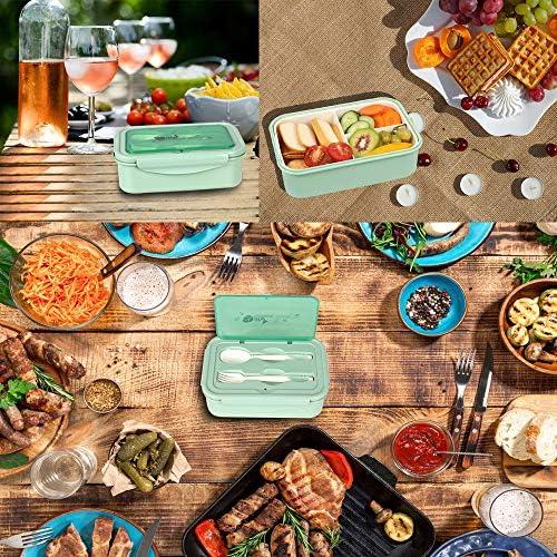 Fiambrera Melisen cuberter/ía para escuela Nordic Denim trabajo viajes Pr/áctica caja Bento con recipiente de acero inoxidable de doble capa para el desayuno picnic