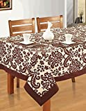Colorful Rectangular Patterned Cotton Tablecloth 60X120 Inch Chocolate And Cream Damask