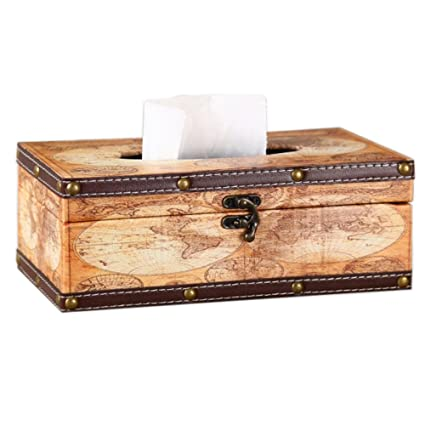 Amazon mode home rectangle vintage wooden tissue box decorative mode home rectangle vintage wooden tissue box decorative tissue holder world map 2 gumiabroncs Image collections