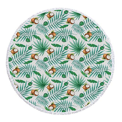 iPrint Thick Round Beach Towel Blanket,Watercolor,Coconut Fruit Exotic Nature Palm Tree Leaves Aloha Hawaii Polynesian Food,Green Pale Brown,Multi-Purpose Beach Throw by iPrint