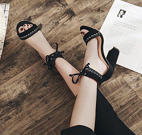 Étanches De Des Hauts Talons L'Unique Avec Bow Talon KHSKX 8 Noir Un six Chaussures Sandales 5Cm Thirty Mot Sandales PwxZxqX4Y