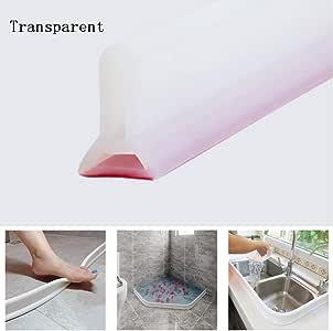 Tira impermeable de silicona flexible, umbral de ducha, tapón de agua de presa de agua, sello de piso del baño, parada de flujo de agua para separación húmeda y seca (500cm,Transparente): Amazon.es:
