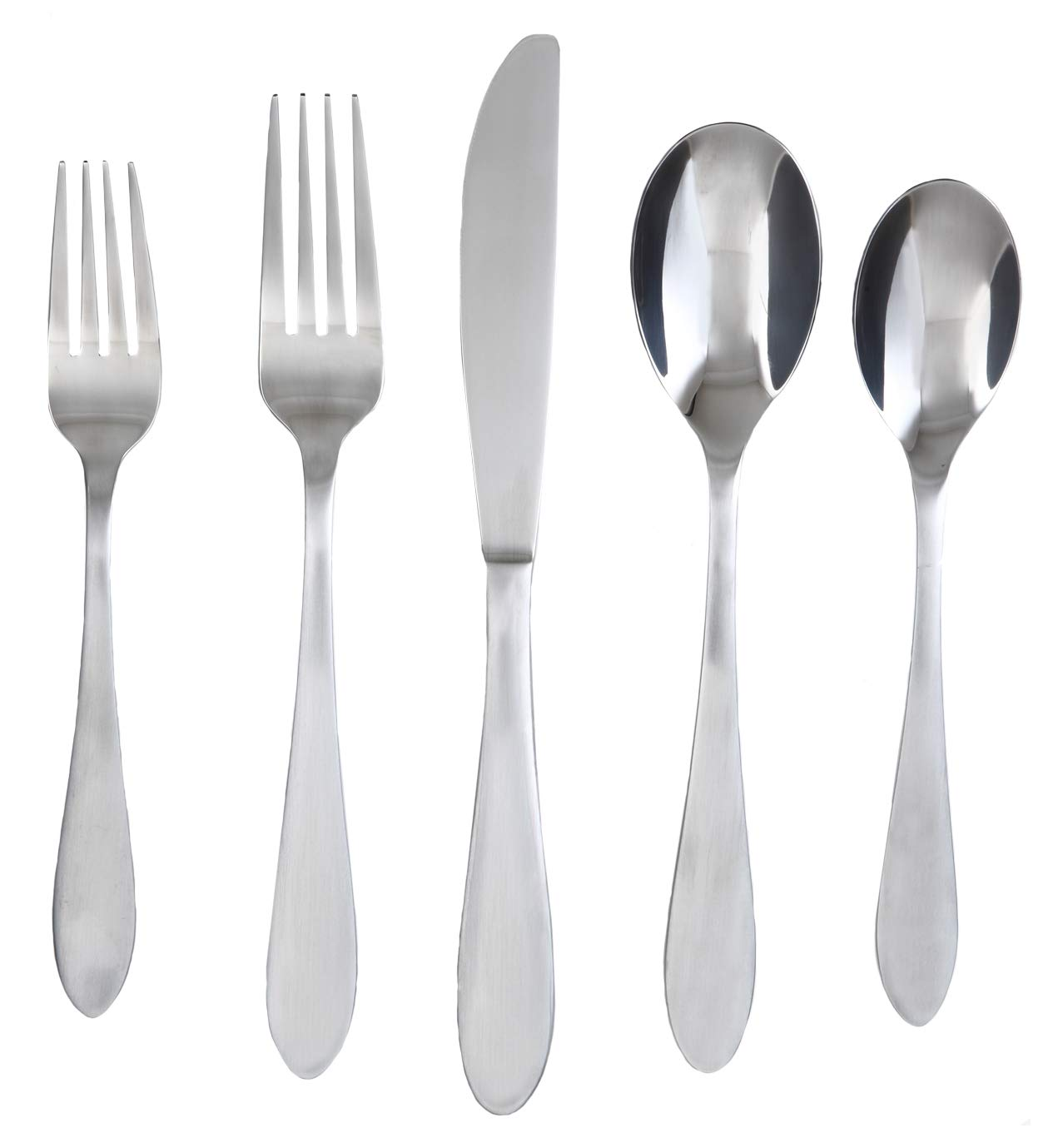 Cambridge Silversmiths Apex Satin 20-Piece Flatware Silverware Set, Stainless Steel, Service for 4, Includes Forks/Spoons/Knives by Cambridge Silversmiths