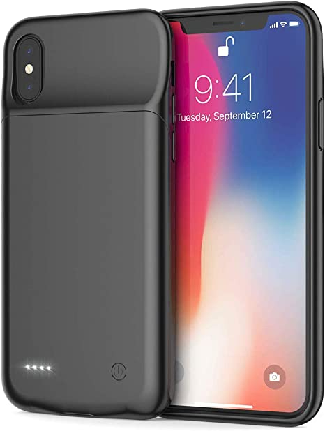 NEWDERY Battery Case for iPhone X//Xs Black 4100mAh Charging Case Slim/&Light Weight Support Qi Wireless Charging Rechargeable External Charging Case Backup Power Bank for iPhone X//Xs//10
