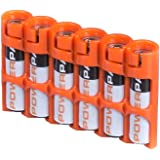 Storacell by Powerpax SlimLine AAA Battery Caddy, Orange, Holds 6 Batteries