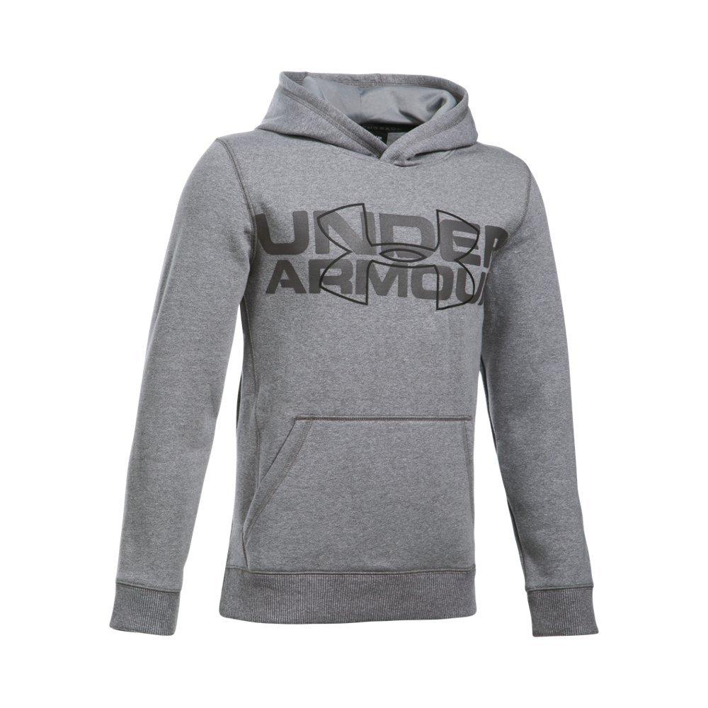 Under Armour Boys' Threadborne Logo Hoodie, Graphite /Black, Youth Small