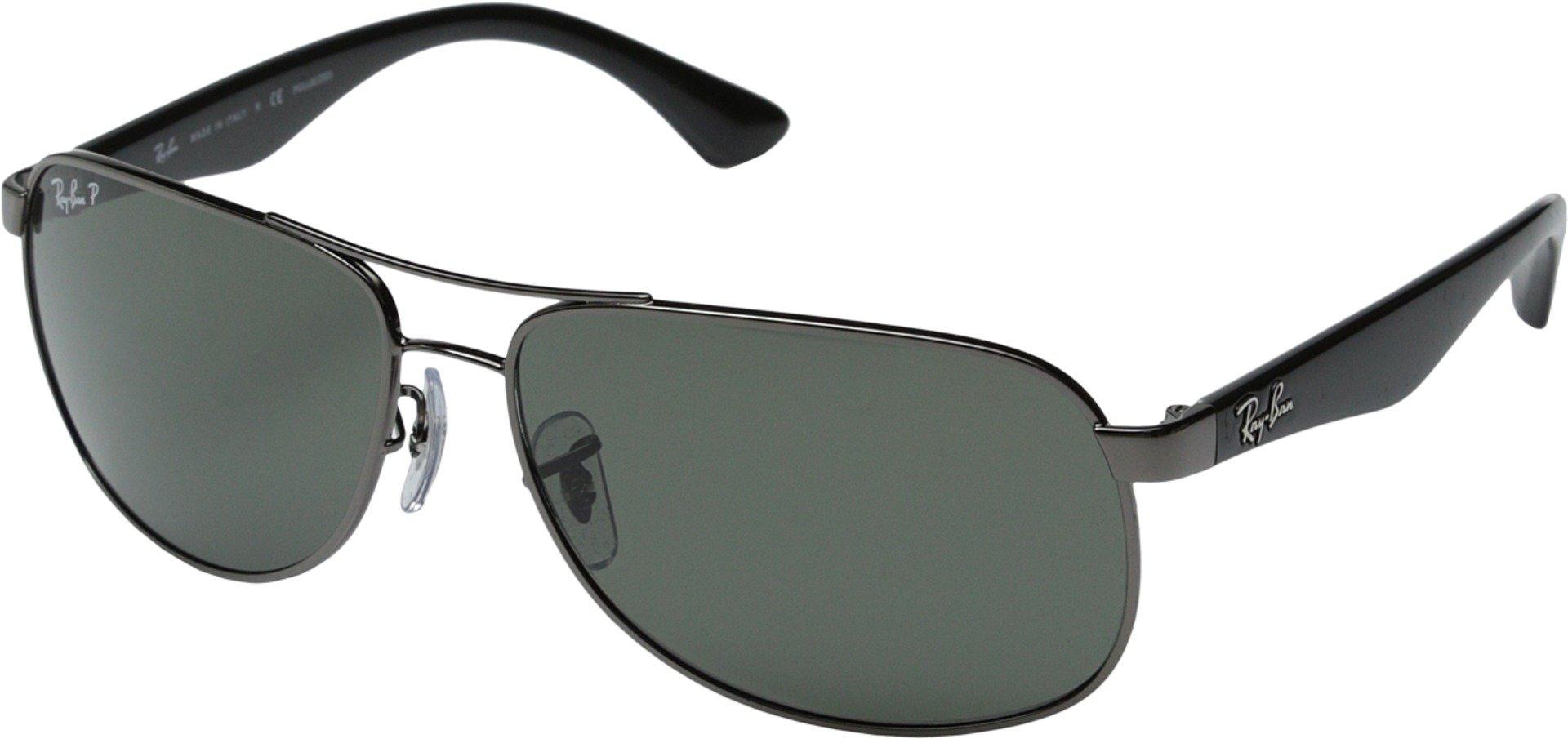 RAY-BAN Men's RB3502 Rectangular Metal Sunglasses, Gunmetal/Polarized Green, 61 mm by RAY-BAN
