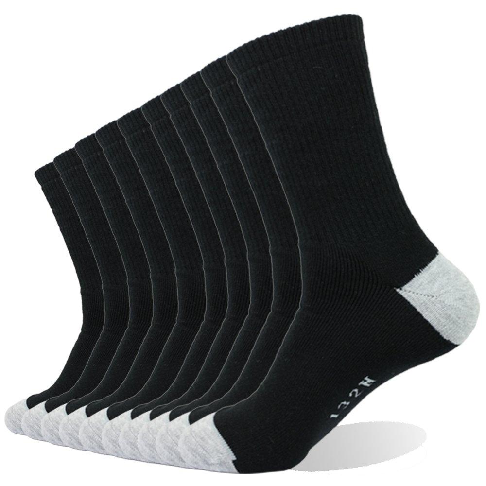Enerwear 10P Pack Men's Cotton Moisture Wicking Extra Heavy Cushion Crew Socks(10-13/shoe size 6-12, Black)