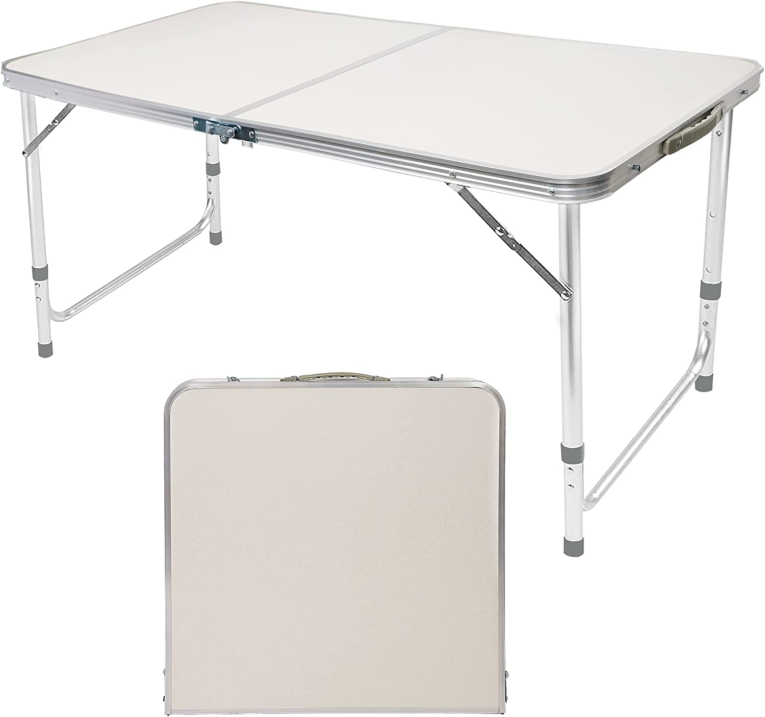 FORUP Folding Camping Table, 4 Ft Aluminum Folding Table with Handle, Adjustable Portable Camp Table for Picnic, BBQ, Party, Beach, White