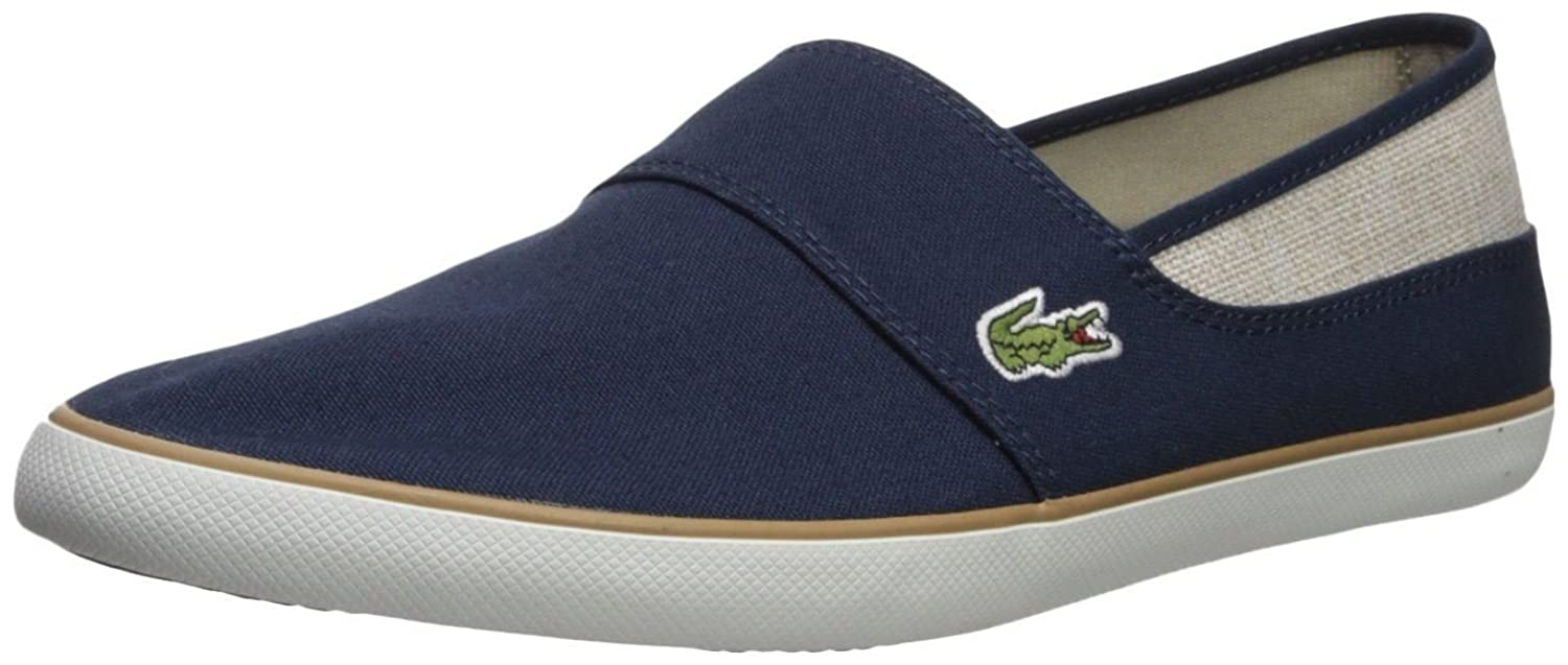 #Lacoste Marice 218 Navy Beige Canvas Mens Slip-ONS Shoes