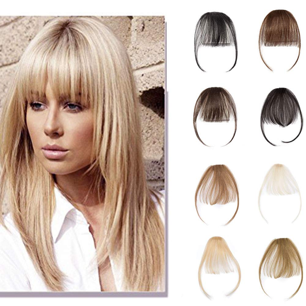 Clip In Human Hair Bangs Natural Real Human Hair Extensions Front Full Neat Air Bangs With Temple One Piece Clip On Hairpiece Flat Fringe Bangs Hand Tied Straight For Women #613 Bleach Blonde 3g by Rich Choices