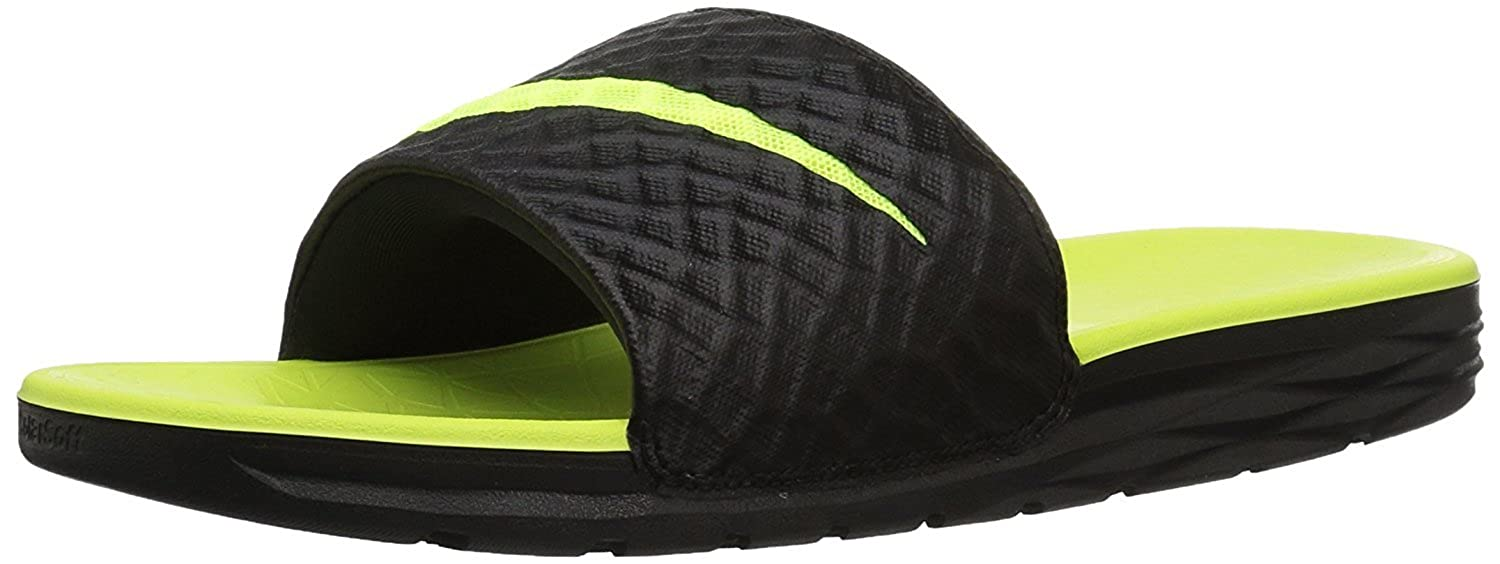 28cbe3ab1a60 Nike Men s Benassi Solarsoft Slide Black Green  Buy Online at Low Prices in  India - Amazon.in