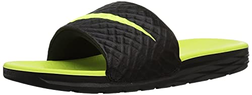 hotel Mecánica Mal uso  Nike Men s Benassi Solarsoft Slide Black/Green: Buy Online at Low Prices in  India - Amazon.in