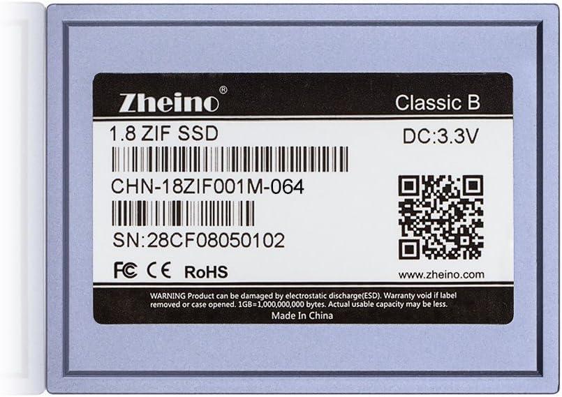 Zheino 1,8 Pulgada ZIF SSD 64GB Pata IDE 40Pin Disco Duro Unidad ...