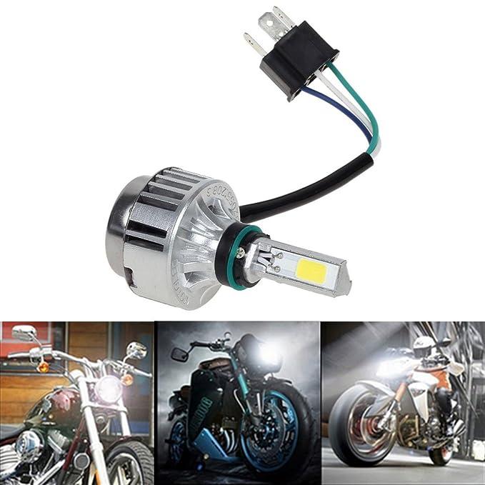 Ralbay motocicleta bombilla LED faro 32w 3000lm H4 de alta baja haz de 360 /° 3-Side faros 6000k blanco