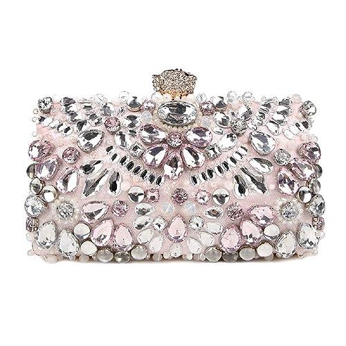 Women Diamante Clutch Bag Ladies Evening Bags Bridal Wedding Handbag Pouch