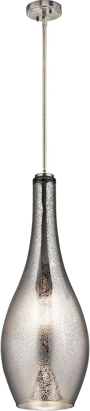 Kichler 42475NIMER, Everly Large Cylinder Pendant, 1 Light, 75 Total Watts, Brushed Nickel