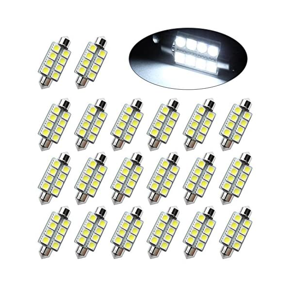 LEDKINGDOMUS 20 Pcs 42mm 8SMD Festoon LED Interior Map Dome Lights Bulbs 211 2 578