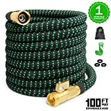 EASYHOSE 100feet Expandable Garden Hose Expandable Water Hoses 3/4 Inch Solid Brass 9 Function Nozzle Flexible Expanding Lightweight Gardening Hose Outdoor Yard Hoses Car Wash Hose Non-kink