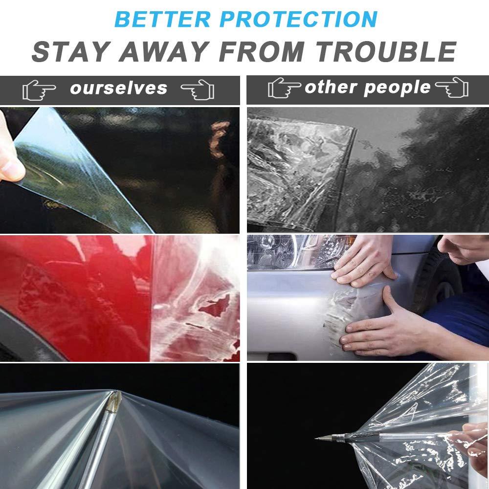 Linhbo 5 m klare Autoschutzfolie Kratzern und Lacksch/äden 2 Rollen transparente Lackfolie mit f/ür Autolackschutz Schutz vor Steinschlag