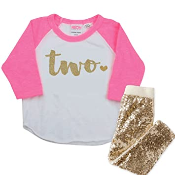 4e36fa7d7 Image Unavailable. Image not available for. Color: Girl Second Birthday  Outfit, Pink and Gold 2nd Birthday Shirt ...