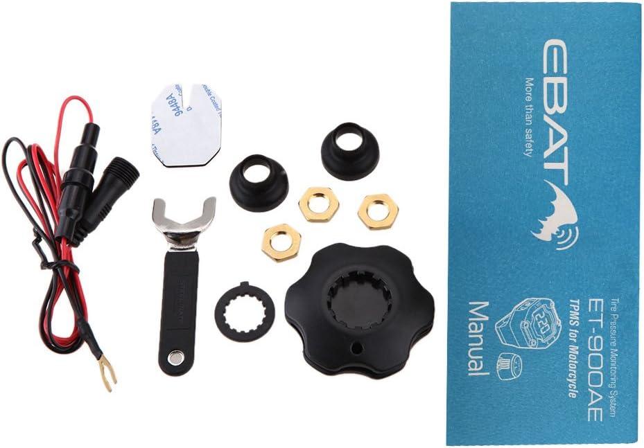 Steelmate DIY TP-90 TPMS Motorrad Reifendruckkontrollsystem Solar Reifendruckmesser mit 2 wasserdichte Sensoren Wireless LCD Display
