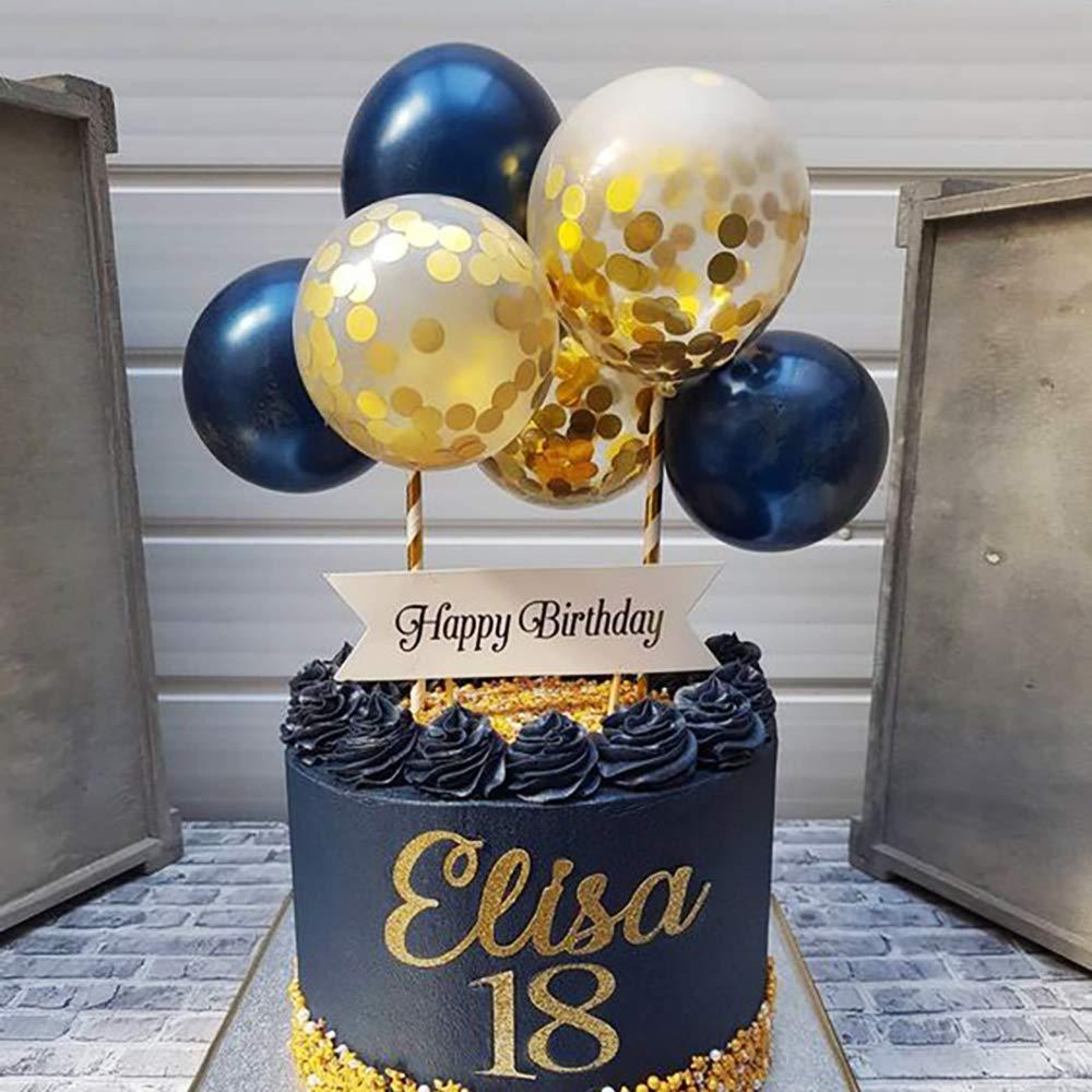 Fantastic Navy Gold Balloon Cloud Cake Topper Mini Baloon Garland Cake Funny Birthday Cards Online Inifodamsfinfo