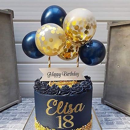 Astounding Navy Gold Balloon Cloud Cake Topper Mini Baloon Garland Cake Funny Birthday Cards Online Fluifree Goldxyz