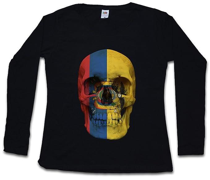 Classic Ecuador Skull Flag Mujer Woman T-Shirt DE Manga Larga - Bandera cráneo Schädel
