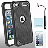 iPod Touch 5th 6th Generation Case, iPod Touch 5/6 Case Genuine ZAFOORAH Hybrid Shockproof Hard Defender 2 Layers with 3 Bonus items Stylus, Screen Protector, Microfiber Cloth (Shockproof - 2 Layers - Black)
