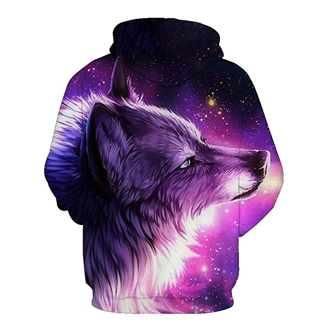 3D Space Galaxy Wolf Unisex Casual 3D Print s Sweatshirts Tops at Amazon Mens Clothing store: