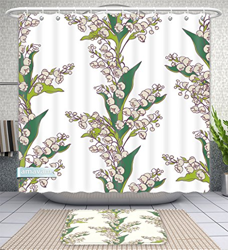 Bouquet Of The Lily Valley (Unique Custom Bathroom 2-Piece Set Seamless Pattern Bouquets Of Flowers Lily Valley On White Background Shower Curtains And Bath Mats Set, 66