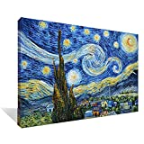Asdam Art - (100% Hand painted 3D) Blue Starry Night by Vincent Van Gogh Work Abstract Oil Paintings Framed Modern Home Wall Art For Living Room Bedroom Dinning Room (20x24inch)