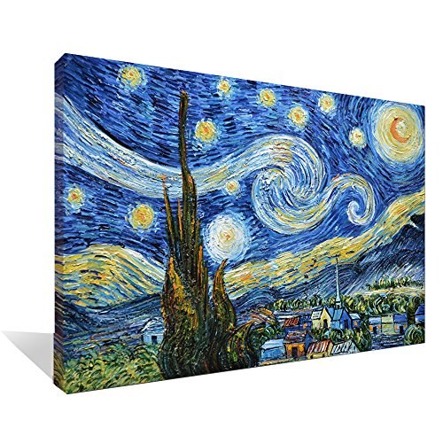 Asdam Art 100% Hand Painted 3D Blue Starry Night by Vincent Van Gogh Work Abstract Oil Paintings Framed Modern Home Wall Art for Living Room Bedroom Dinning Room (24x36inch)