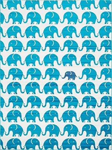 Unique Loom Metro Collection Modern Elephants Bright Colors Kids Turquoise Area Rug 9 0 x 12 0