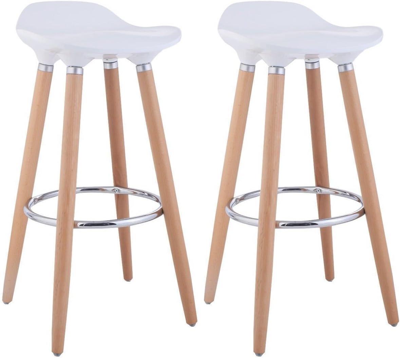 Blanco de FurnitureR ideal para bar o cocina 2 PC Taburetes con patas de madera 2/unidades dise/ño moderno madera