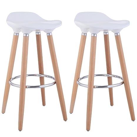 Taburetes, de FurnitureR, diseño moderno, ideal para bar o cocina, con  patas de madera, 2 unidades, madera, Blanco, 2 PC