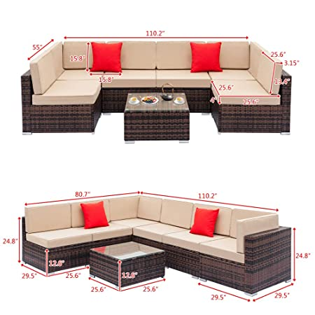 Tenozek 7 Pieces Outdoor Furniture Patio Sectional Sofa Wicker Patio Set All Weather PE Rattan Conversation Set Brown, 6 Seats Coffee Table