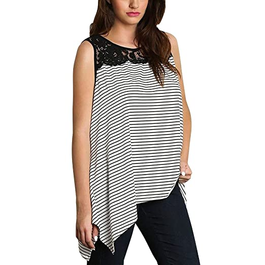 fba6cf0e4a4 POTO❤Women Tank Tops❤ Plus Size Ladies Striped Lace Splice Vest Camisole  Summer Sleeveless