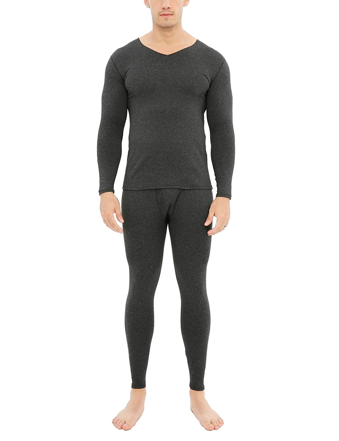 Warmfort Mens Soft Wintergear Cotton Thermal Underwear Mens Classic Midweight Long Johns Set with Fleece Lined