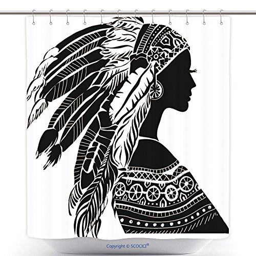 Funky Shower Curtains Young Woman In Costume Of American Indian Silhouette Of Beautiful Indian Women 215508190 Polyester Bathroom Shower Curtain Set With (Female Frankenstein Costume Uk)
