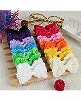 [Free Shipping] 24Pcs Baby Girl Hair Accessories Decoration Rainbow Bows Clips // 24 piezas niña cabello sin clips arco iris arquea las flores de la gasa de acce