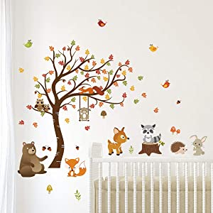 decalmile Forest Animals Tree Wall Decal Fox Deer Fall Leaves Wall Stickers Baby Nursery Kids Bedroom Classroom Wall Decor (H: 31 Inches)