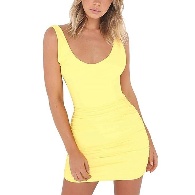 Minetom Mujeres Verano Sin Mangas Bodycon Vestido Corto Atractivo Color Sólido Escotado por Detrás Mini Dress