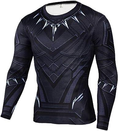 Camisa de compresión de Manga Larga Capitán América para Hombre Endgame Dri-Fit